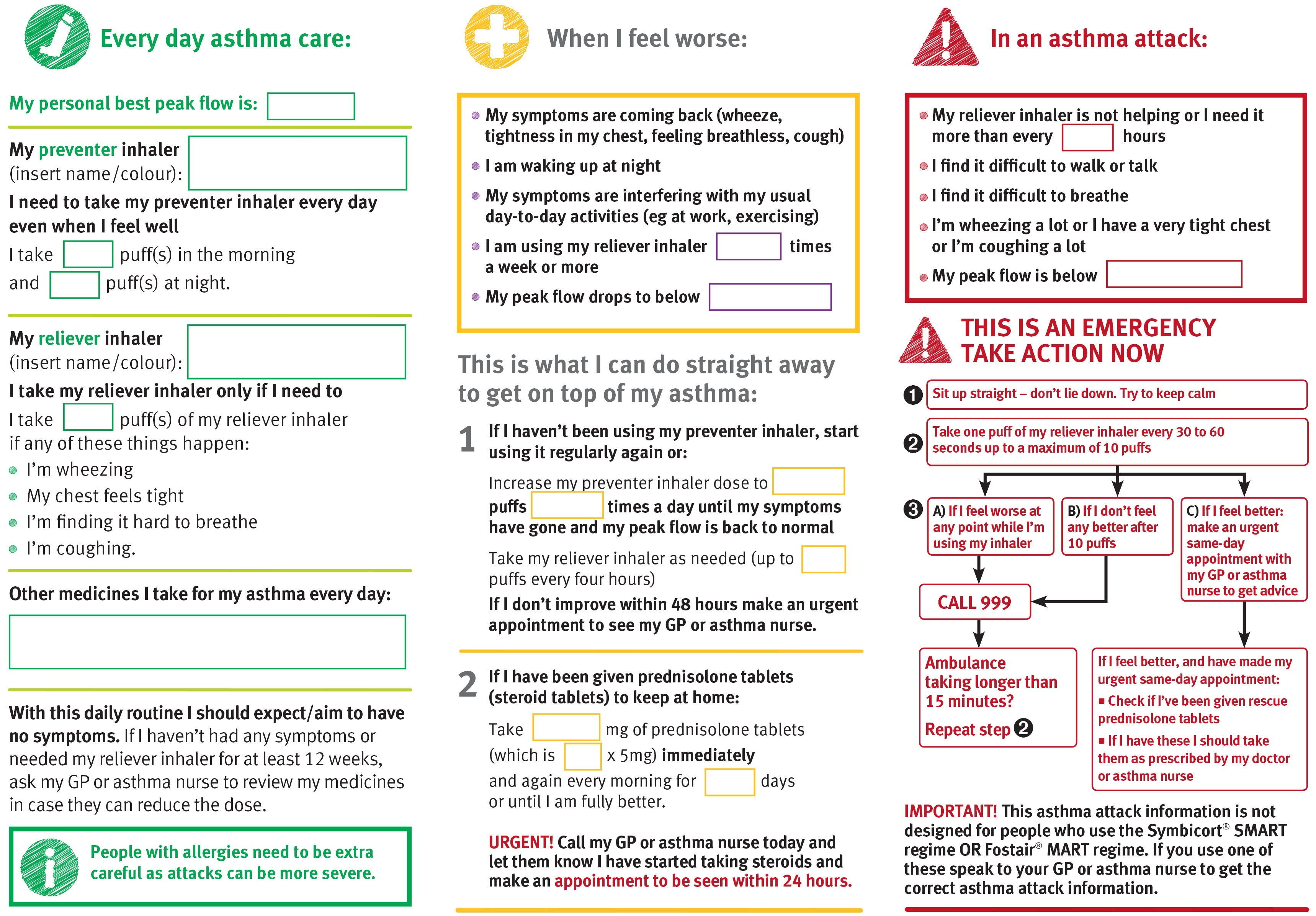 Written Adult Asthma Action Plan - close-up