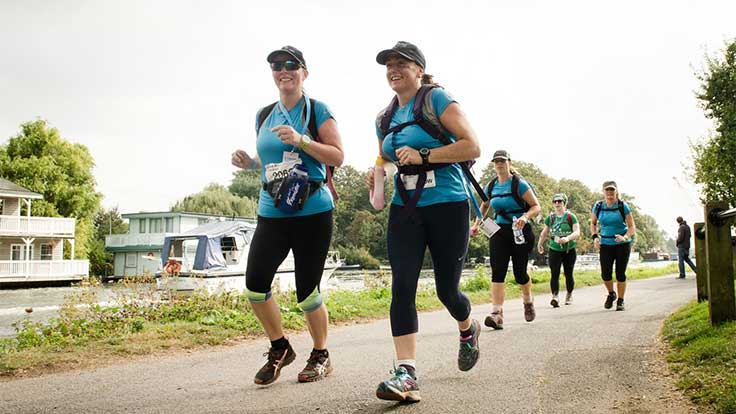 A group of Asthma UK walkers on a canal path