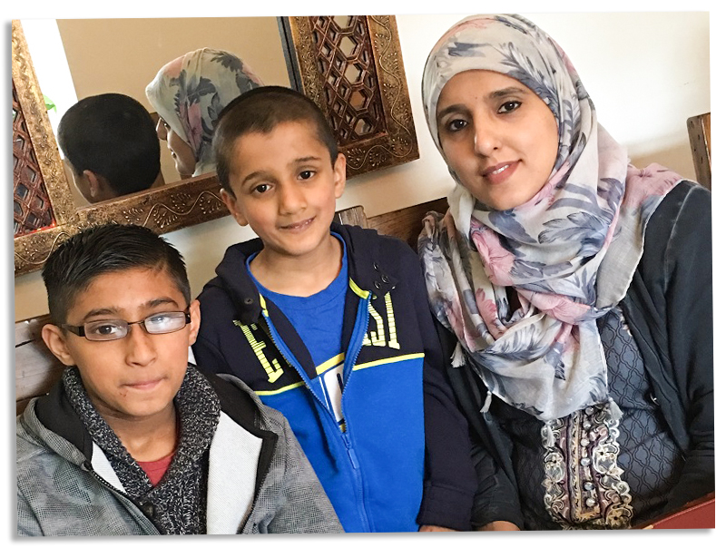 Mum Shakeela with her sons who have asthma