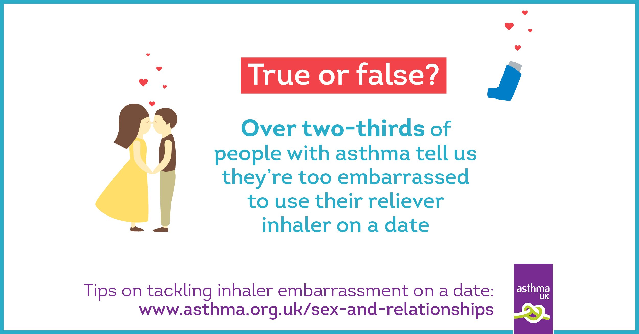 two thirds people with asthma tell us too embarrassed to use their inhaler on a date