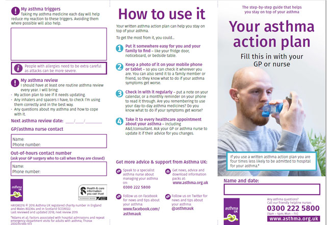 Asthma UKu0027s Adult Asthma Action Plan   Updated 2018