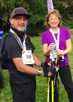 Geof Newman with his Nordic Walking poles